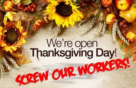 Shopping on thanksgiving kills poor workers holidays for Is waffle house open on thanksgiving