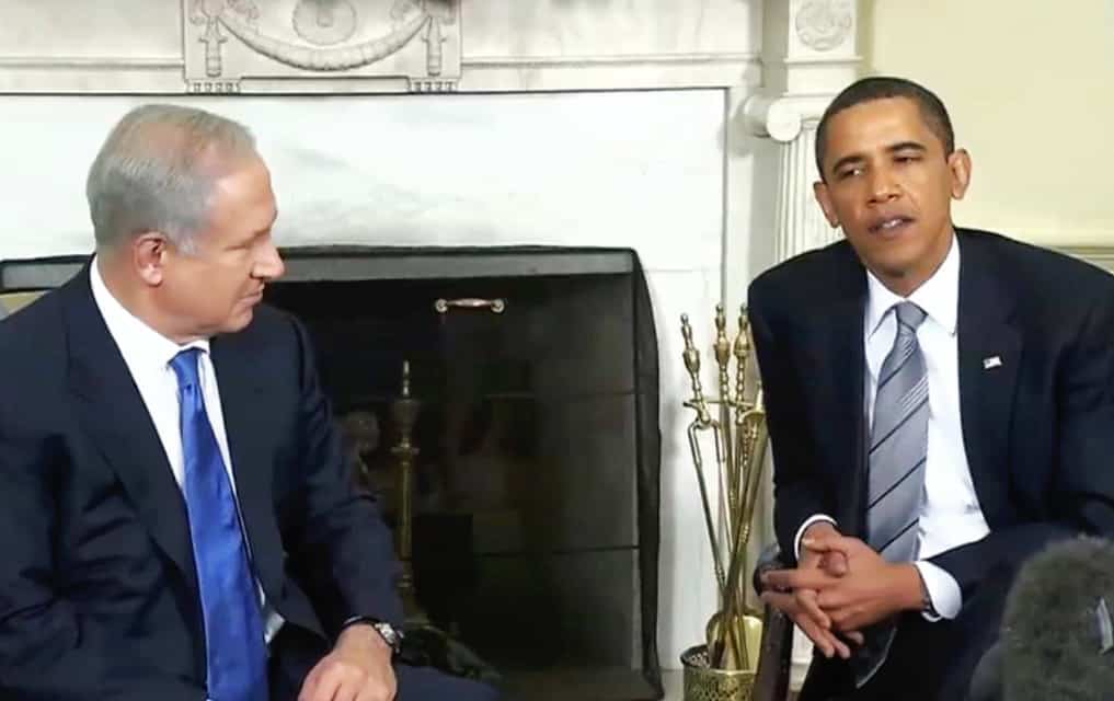 Barack Obama with Benjamin Netanyahu in the Oval Office