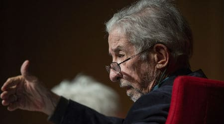 Tom Hayden speaks at the LBJ Presidential Library on Wednesday, April 27, 2016, as part of a three-day Vietnam War Summit. Photo: LBJ Library - Flickr - Public Domain