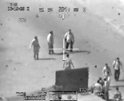 "A scene from the ""Collateral Murder"" video of a lethal U.S. helicopter attack in Baghdad, July 12, 2007"