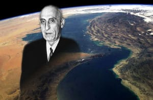 Mohammad Mossadegh in front of the Straight of Hormuz, as seen from the international space station. (NASA/WikiMedia Commons)