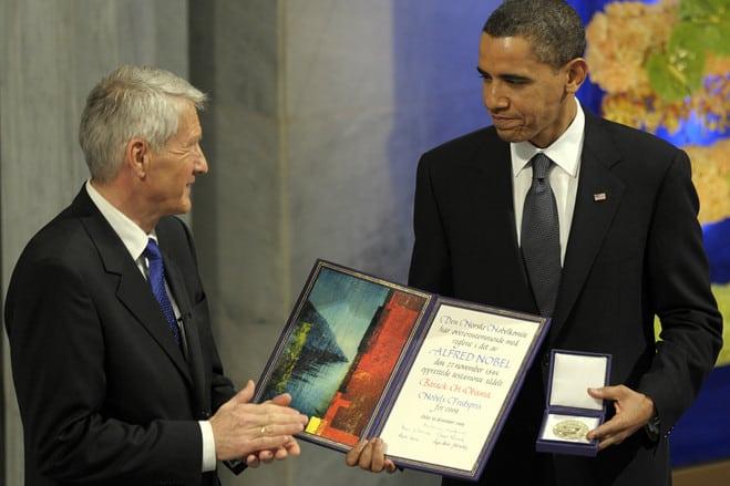 President Barack Obama receives his Nobel Peace Prize in Oslo, Norway in 2009. (AP).