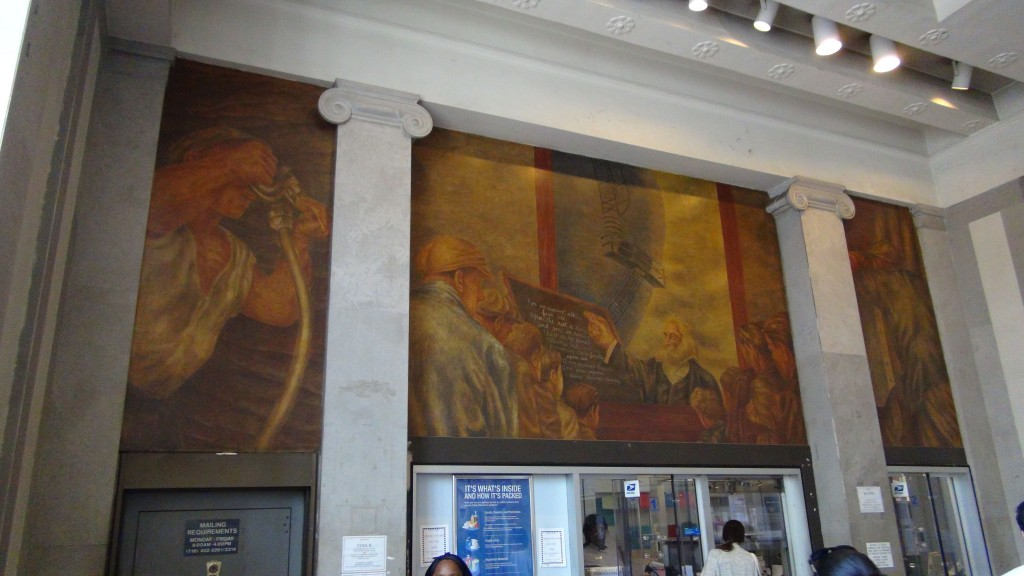 One of the many worker oriented murals in the Bronx Post Office by Ben Shawn.  The words are: For we support all, fuse all.   After the rest is done and gone we remain.   There is no final reliance but upon us.   Democracy rests finally upon us. (I my brethren begin it) and our visions sweep through eternity.