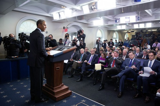 President Barack Obama delivers a statement on Ukraine in the James S. Brady Press Briefing Room of the White House, March 6, 2014. (Official White House Photo by Pete Souza)