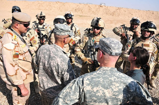 Senior US military leaders meet with Iraqi security forces in Besmaya, Iraq. (Photo: Pfc. Glen T. Shackley / USF-I DCG-O / US Army )