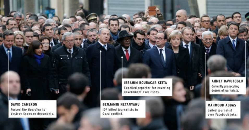 Though world leaders rushed to Paris to show their solidarity with press freedoms in the wake of the Charlie Hebdo attacks, few of them have adequately defended those principles in their own countries. (Image with graphics: via Gawker)