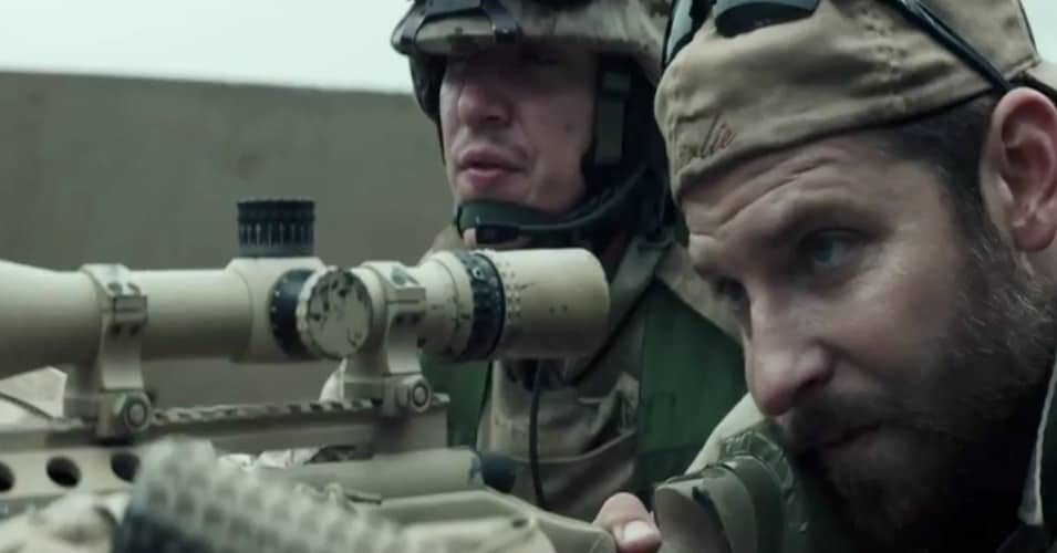 Actor Bradley Cooper (r) playing U.S. Navy Seal sniper Chris Kyle in the film 'American Sniper.'