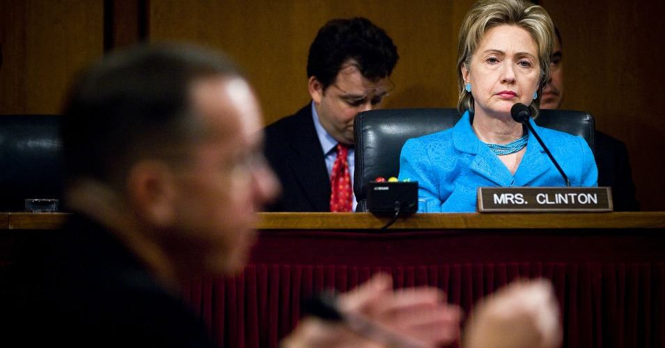 In 2007, then Senator Hillary Clinton listened as Chief of Naval Operations Navy Admiral Mike Mullen responded to a question during his July 2007 confirmation hearing in front of the Senate Armed Services Committee. (Photo: Wikimedia Commons)