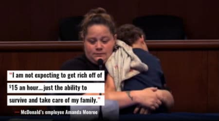 Photo: fightfor15.org McDonald's employee Amanda Monroe testifying before the NY State Wage Board