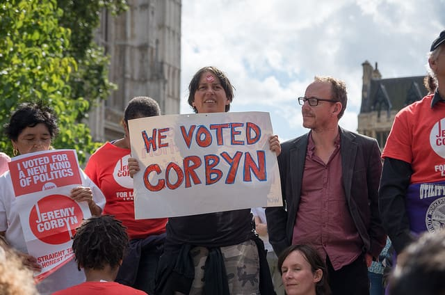 Corbyn supporters  gathered at the Queen Elizabeth Conference Centre in London to hear the results of the Labour leadership contest. (Photo: The Weekly Bull @ flickr.cc)