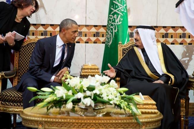 King Salman of Saudi Arabia talks with President Obama at Erga Palace. (Official White House Photo by Pete Souza)