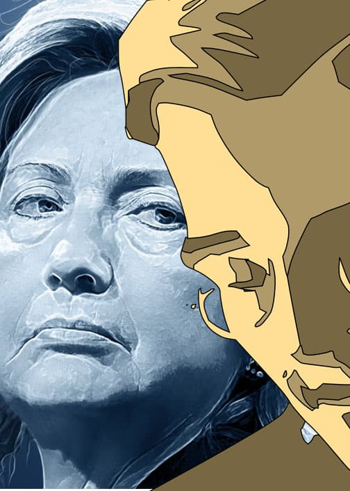 (Clinton graphic by DonkeyHotey @ flickr/cc.  Snowden graphic CC0 Public Domain.)