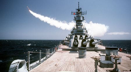 A BGM-109 Tomahawk long-range cruise missile is launched from the battleship USS MISSOURI. Photo: VA Comm / Flickr / CC