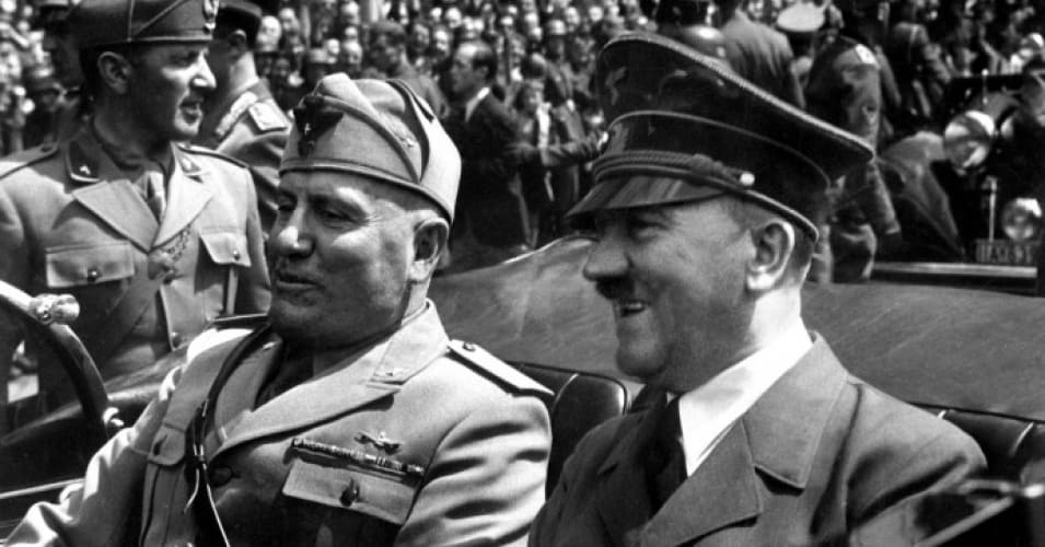 Adolf Hitler and Benito Mussolini in Munich, Germany. (Photo: National Archives)
