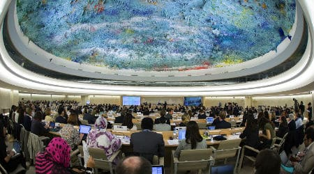 The United Nations Human Rights Council at a meeting in 2014. Photo: United States Mission Geneva / Eric Bridiers / Flickr / CC 2.0