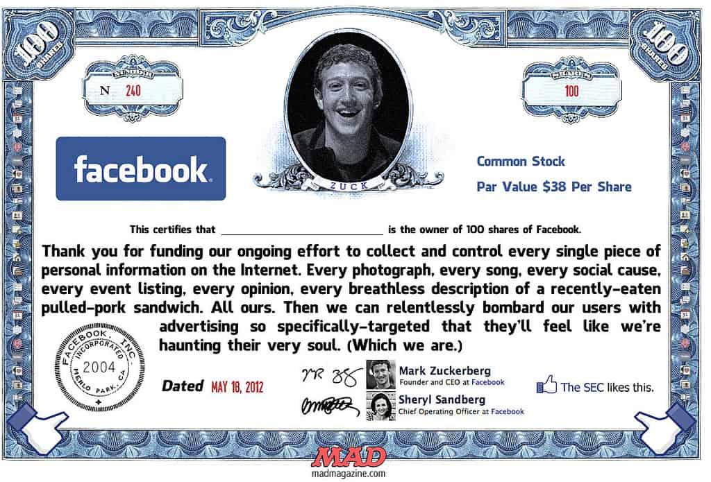 MAD Magazine Facebook Stock Certificate.  (Ron Rothbart @ flickr.cc)