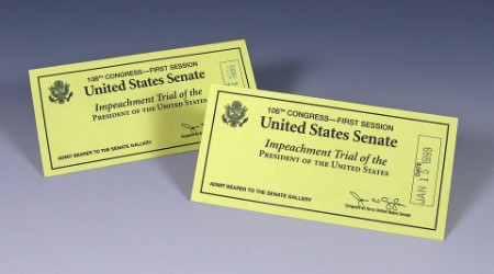Two tickets dated January 15, 1999, for President Bill Clinton's impeachment trial. The tickets were presented to Mr. and Mrs. Gerald R. Ford. Source: Gerald R. Ford Presidential Museum